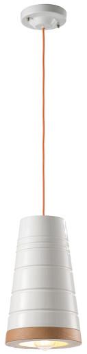 C1785 - Pendul retro alb din ceramică cu fir potocaliu