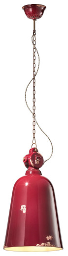 C1745 - Pendul retro roșu cu finisaj maro din ceramică