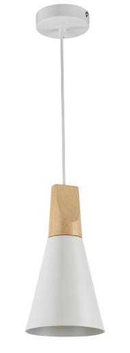 Bicones I - Pendul alb din metal cu element din lemn la bază