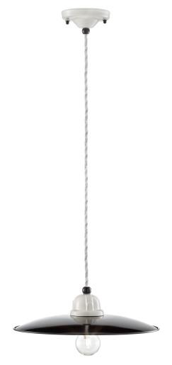 C1611 - Pendul retro negru cu finisaj alb din ceramică