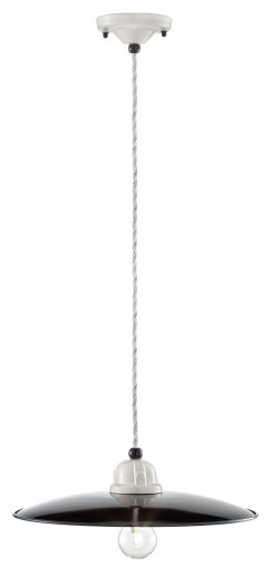 C1612 - Pendul retro negru cu finisaj alb din ceramică