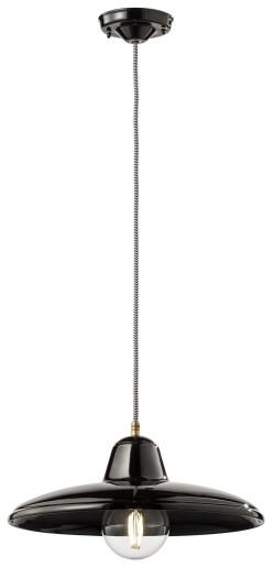 C2330 - Pendul retro roșu cu finisaj maro din ceramică cu 3 surse de lumină