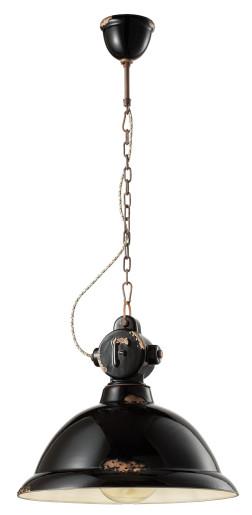 C1710 - Pendul retro negru lucios cu finisaj maro din ceramică