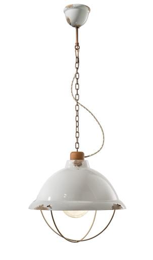 C1680 - Pendul  retro alb cu finisaj maro din ceramică