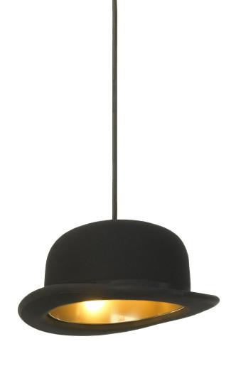 Jeeves - Pendul cu abajur negru din lână în formă de pălărie