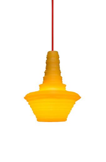 Stupa Small - Pendul cu abajur galben din rășină