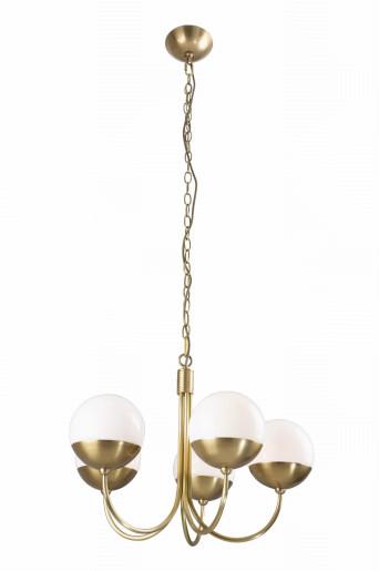Dallas 5 - Candelabru din metal auriu cu 5 globuri de sticlă