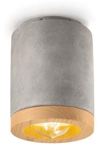 C989 - Downlight cilindric alb sau gri din ceramică și lemn