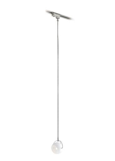 Beluga I - Proiector pe șină alb cu abajur din sticlă