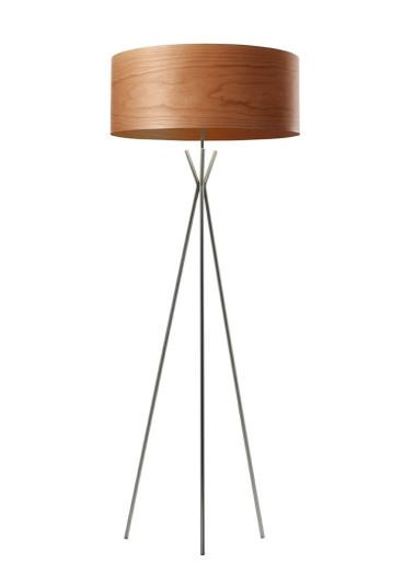 Cosmos - Lampă de podea cilindrică din furnir cu susținere în 3 puncte