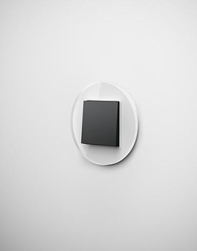 Întrerupător simplu GIRA Studio negru mat cu ramă simplă sticlă albă