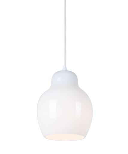 Pomelo - Pendul cu abajur alb din sticlă