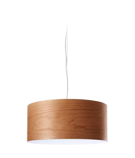 Gea Slim - Lustră cilindrică din furnir cu finisaj alb