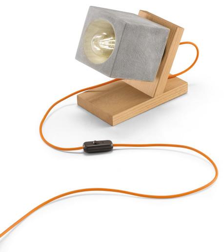 C990 - Lampă de masă albă sau gri din ceramică și lemn