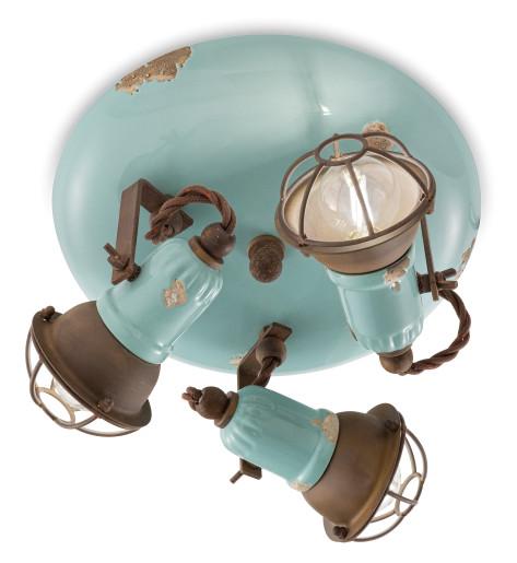 C1679/1 - Plafonieră albastră cu finisaj maro din ceramică cu 3 surse de lumină