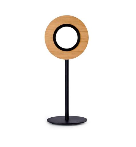 Lens Circular I - Lampă de masă rotundă din furnir cu bază metalică