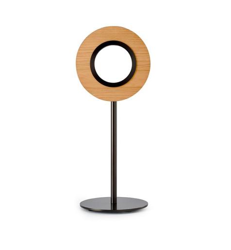 Lens Circular III - Lampă de masă rotundă din furnir cu bază metalică