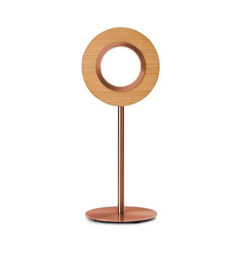 Lens Circular V - Lampă de masă rotundă din furnir cu bază metalică