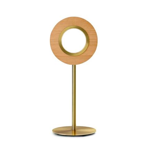 Lens Circular IV - Lampă de masă rotundă din furnir cu bază metalică