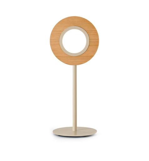 Lens Circular II - Lampă de masă rotundă din furnir cu bază metalică