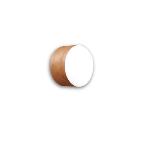 Gea Small - Plafonieră cilindrică din furnir cu finisaj alb