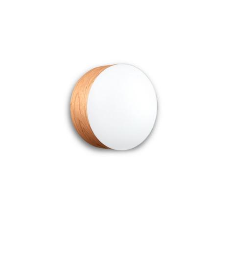 Gea Medium - Plafonieră cilindrică din furnir cu finisaj alb