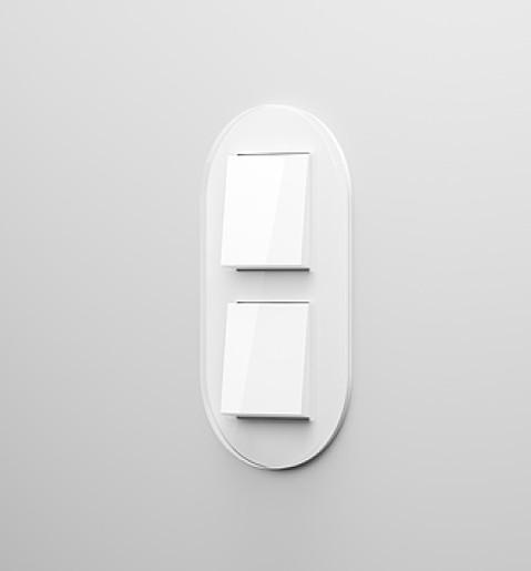 Două întrerupatoare simple GIRA Studio alb lucios cu ramă dubla sticlă albă
