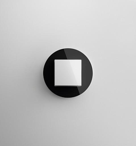 Întrerupător simplu GIRA Studio alb lucios cu ramă simplă sticlă neagră