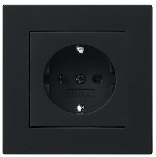 Priză Schuko GIRA E2 flat cu ramă simplă negru mat