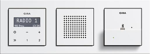 Radio RDS Gira E2 încastrat alb lucios, cu stație andocare Apple, cu ramă plastic alb