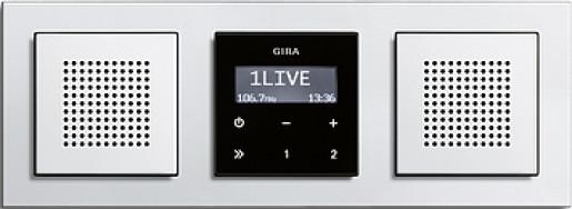 Radio RDS Gira E2 încastrat negru lucios cu doua boxe, cu ramă plastic alb