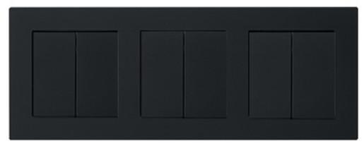 Trei întrerupătoare duble GIRA E2 flat cu ramă triplă negru mat