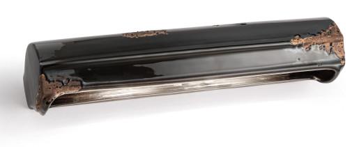 C147 - Aplică retro neagră cu finisaj maro din ceramică