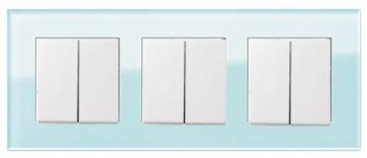 Trei întrerupătoare duble GIRA Esprit alb lucios cu ramă triplă sticlă mint