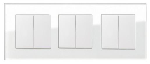 Trei întrerupătoare duble GIRA Esprit alb lucios cu ramă triplă sticlă albă