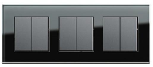 Trei întrerupătoare duble GIRA Esprit antracit cu ramă triplă sticlă neagră