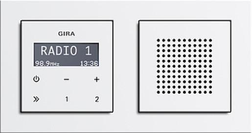 Radio RDS Gira E2 încastrat alb lucios cu ramă plastic