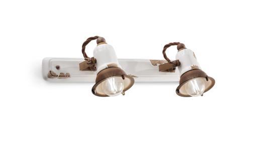 C1676 - Aplică retro albă cu finisaj maro din ceramică cu 2 surse de lumină