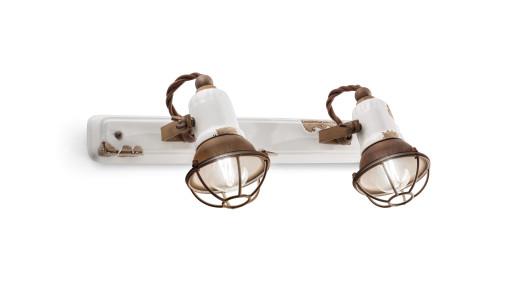 C1676/1 - Aplică retro albă cu finisaj maro din ceramică cu 2 surse de lumină