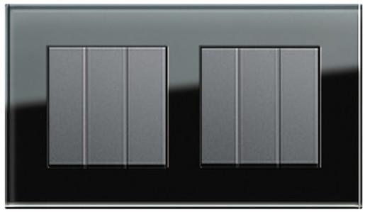 Două întrerupătoare triple GIRA Esprit antracit cu ramă dublă sticlă neagră