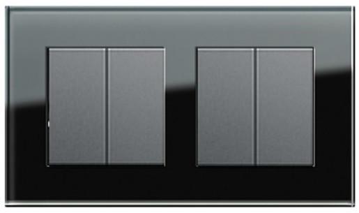 Două întrerupătoare duble GIRA Esprit antracit cu ramă dublă sticlă neagră