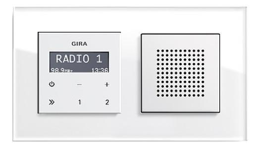 Radio RDS Gira Esprit încastrat alb lucios cu ramă sticlă alba