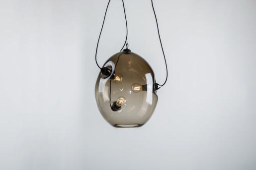 Membrane - Pendul cu abajur fumuriu din sticlă cu 3 surse de lumină