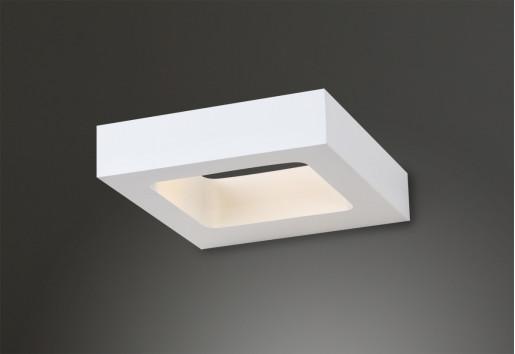 Salvador - Aplică albă rectangulară din aluminiu