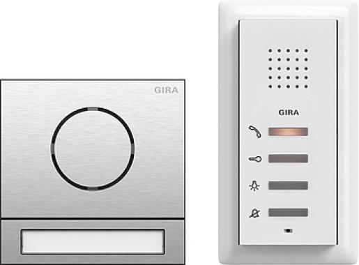 Pachet interfonie GIRA System 107 compus din o stație interfon audio pentru exterior și una pentru interior