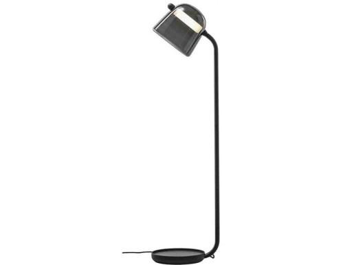 Mona Large -  Lampă de podea neagră cu abajur fumuriu din sticlă