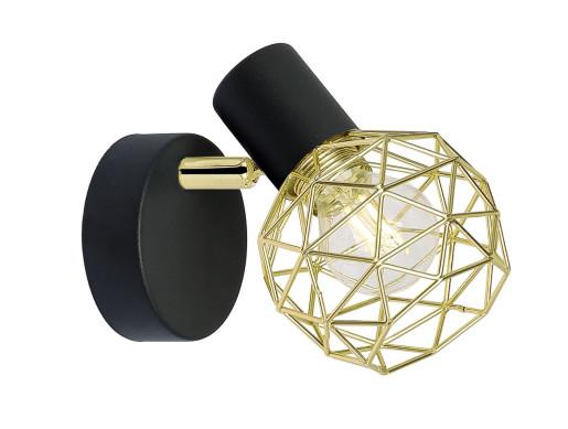 Acrobat - Aplică ajustabilă neagră cu abajur auriu