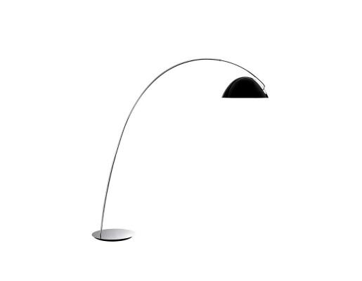 Pluma - Lampă de podea cu abajur negru lucios cu interior alb
