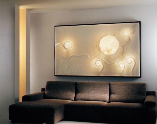 Lunar Dance - Aplică din nebulit cu ramă neagră cu 6 surse de lumină