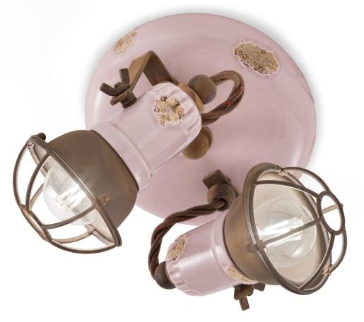 C1678/1 - Plafonieră roz cu finisaj maro din ceramică cu 2 surse de lumină